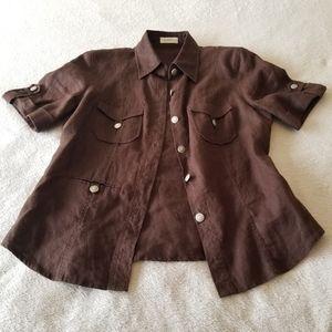 *4/$30* Brown Linen Shirt Size Small